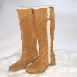 UGG Shearling Lined Knee High Tall Boots Chestnut
